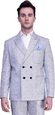 Protext Premium Self Design Double Breasted Casual, Party, Formal, Festive, Wedding, Sports Men's Blazer