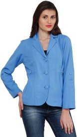 Oxolloxo Solid Single Breasted Casual Women's Blazer(Blue)