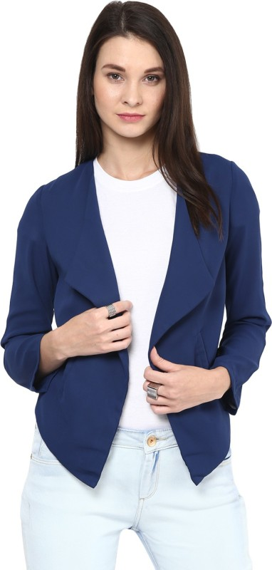 Stylestone Solid Single Breasted Formal, Casual, Party Women's Blazer(Blue)