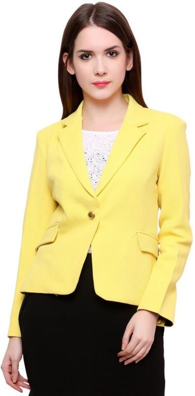 Pannkh Self Design Single Breasted Casual Women's Blazer(Yellow)