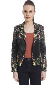 Vero Moda Floral Print Single Breasted Casual Women's Blazer(Black)