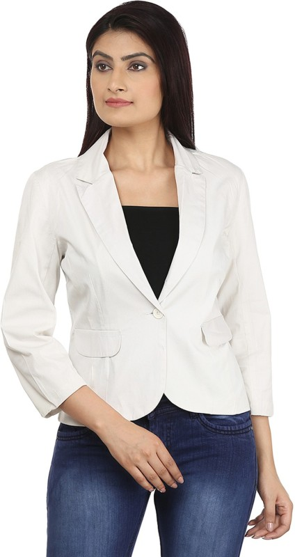 Eves Pret A Porter Solid Single Breasted Casual Women's Blazer(White)