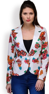 Purplicious Floral Print Single Breasted Casual, Formal Women,s, Girl's Blazer