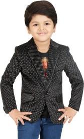 Kute Kids Polka Print Tuxedo Style Party Boy's Blazer(Black, White)