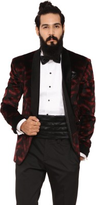 Invern Printed Single Breasted Casual Men's Blazer
