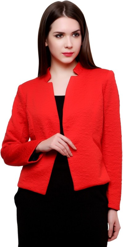 Pannkh Self Design Single Breasted Casual Women's Blazer(Red)