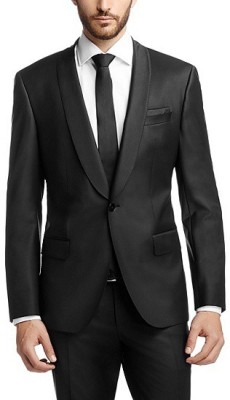 Menjestic Solid Tuxedo Style Wedding, Party, Festive, Formal Men's Blazer