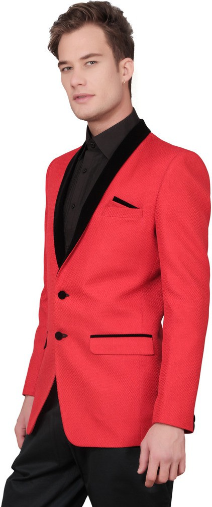 Ajay Arvindbhai Khatri Solid Tuxedo Style Wedding Men's Blazer(Red)