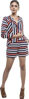Sassy Stripes Striped Tuxedo Style Casual Women's Blazer