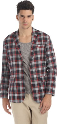 Zobello Checkered Single Breasted Casual Men's Blazer