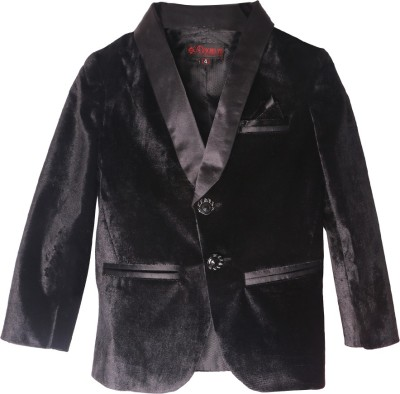 DL EMPORIUM Solid Tuxedo Style Casual, Festive, Formal, Party, Wedding Boy's Blazer