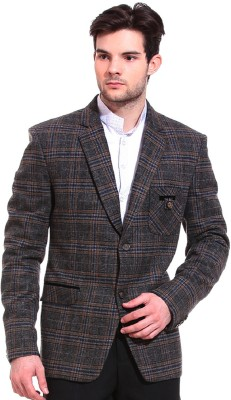 TAG 7 Checkered Single Breasted Formal Men's Blazer