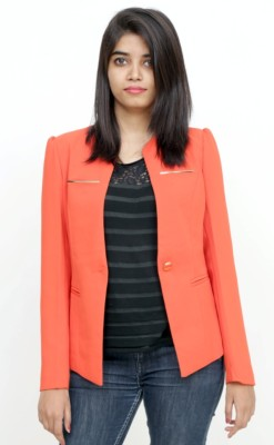 Loto Solid Single Breasted Party, Casual Women's Blazer