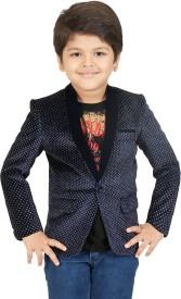 Kute Kids Polka Print Tuxedo Style Party Boy's Blazer(Blue, White)