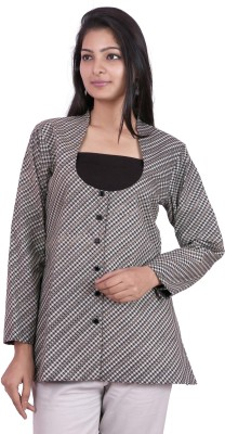 Pamposh Creations Checkered Single Breasted Casual Women's Blazer
