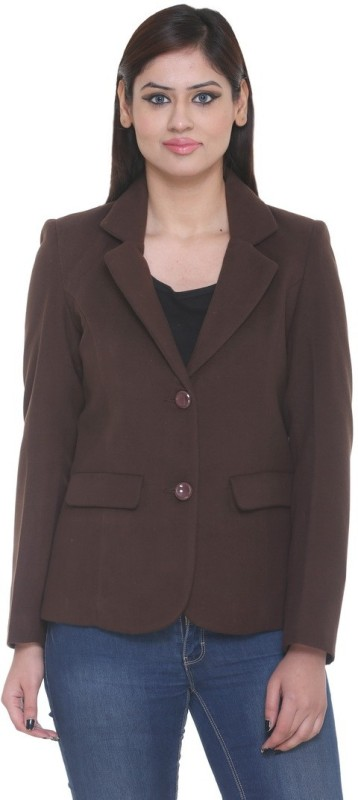 Trufit Solid Single Breasted Casual Women's Blazer(Brown)