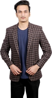 FADJUICE Checkered Single Breasted Casual, Wedding, Party, Lounge Wear, Festive Men's Blazer