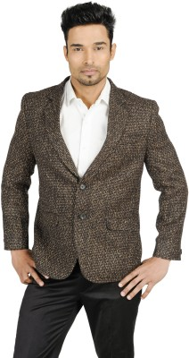 English Channel Self Design Single Breasted Formal Men's Blazer