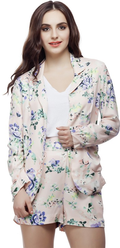 Living Doll Floral Print Single Breasted Casual Women's Blazer(Multicolor)