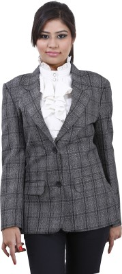 Devis Checkered Single Breasted Formal Women's Blazer