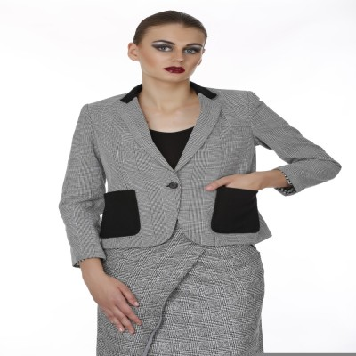 Baba Rancho Houndstooth Single Breasted Formal Women's Blazer