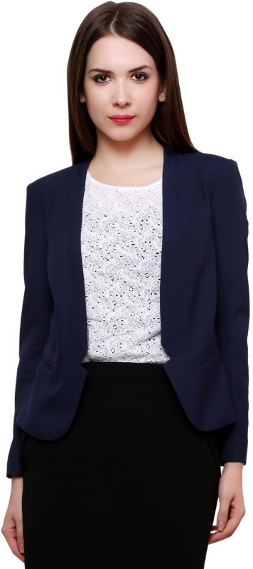 Pannkh Solid Single Breasted Casual Women's Blazer(Blue)