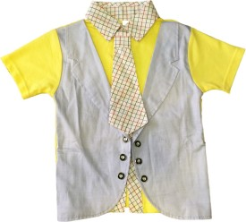 Littlelollydoodle Self Design Tuxedo Style Casual Boys Blazer(Yellow)