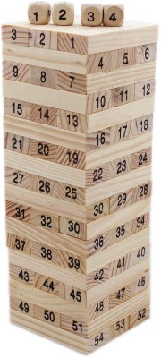 Tootpado Tumbling Tower 54 Wooden Building Block Party Games (20.5 cm Tall) - Toys Educational(Brown)
