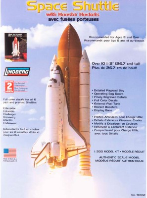 Lindberg USA 1/200 Scale Space Shuttle with Booster Rockets Plastic Model Kit