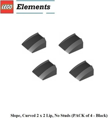 Parts - Slopes, Curved Lego Parts Slopecurved 2 X 2 Lipno Studs (Pack Of 4 Black)