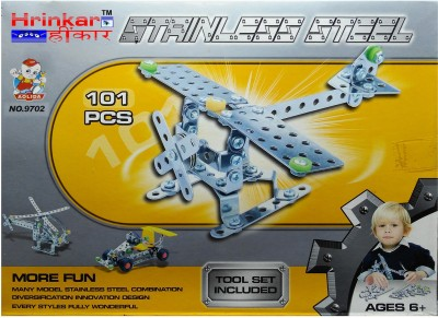 Hrinkar Aolida Metal Helicopter Construction Set 3D Stainless Steel Puzzle 101 Pcs
