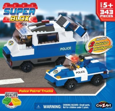 Cra-Z-Art Cra Z Art Superblox Police Patrol Trucks 352 Pc N