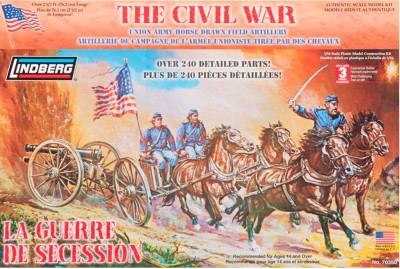 Lindberg USA 1/16 Scale Civil War Union Army Horse Drawn Field Artillery Plastic Model Kit(Multicolor)