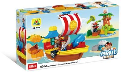 Toys Bhoomi Pirate Treasure Hunt Ship Building Block Set - 60 pieces