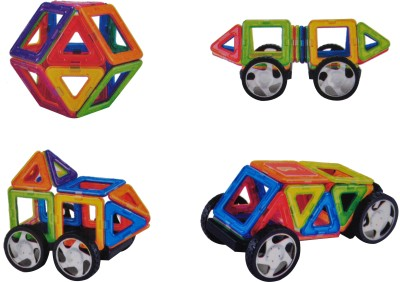 Magic Pitara 22 Pcs. Magnetic Building Blocks Educational Construction Set with Wheels for Brain Development