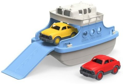 Green Toys Green Toys Ferry Boat with Mini Cars Bathtub Toy, Blue/White