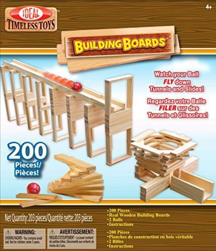 Ideal Building Boards 200 Piece Classic Wood Construction Set(Brown)