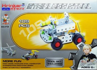 Hrinkar Aolida Metal Fighter Tanker Construction Set 3D Stainless Steel Puzzle 109 Pcs