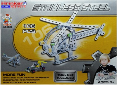 Hrinkar Aolida Metal Helicopter Construction Set 3D Stainless Steel Puzzle 106 Pcs