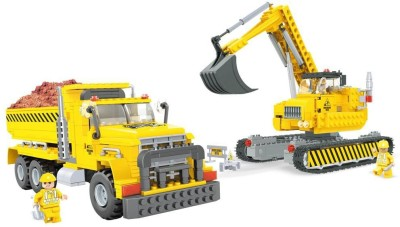Funblox Construction Crane & Trucks
