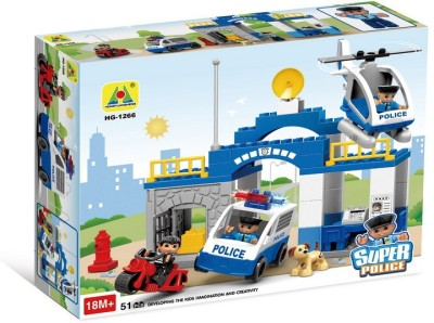 Toys Bhoomi Super Police Station Block Building Set - 51 Pieces
