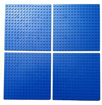 MinifigFans 5-Inch By 5-Inch Blue Dots Baseplate Lego Compatible 4-Pack
