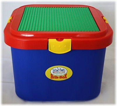 Romanoff Matty's Toy Stop Brik-Box Storage Container with Building Plate and Removable Lid - Primary