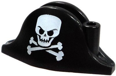 Build A Figure Lego Loose Headgear Black Pirate Hat With Large Skull