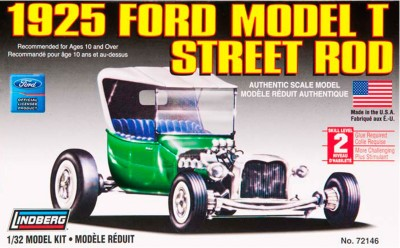Lindberg USA 1/32 Scale 1925 Ford Model T Street Rod Plastic Model Kit from Lindberg.