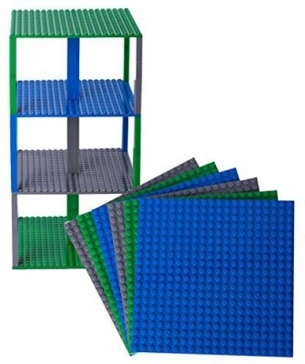 Strictly Briks Premium Bluegreenand Gray Stackable Base Plates 6 Pack 6