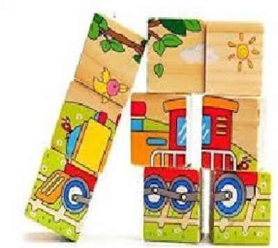 RREnterprizes RR's 9 Piece Wooden Puzzle Vehicles theme