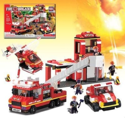 BRICTEK BUILDING BLOCKS Fire Station With Sound & Lights Building Set Brictek
