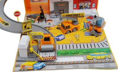 Happy kids CONSTRUCTION SITE PLAY SET AND CAR CASE