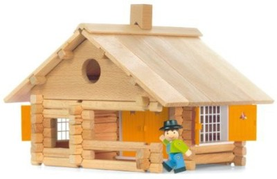 Vilac Jeujura 135 Pieces Wooden Construction House In Suitcase